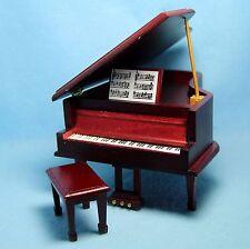 Dollhouse Miniature Beautiful Grand Piano in Mahogany ~ D4120