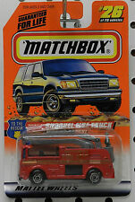 FIRE SNORKEL TRUCK RED  911 TO THE RESCUE 26 1998 MB MBX MATCHBOX
