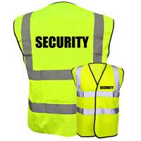 SECURITY HI VIZ HIGH VIS SAFETY VEST PRINTED WAISTCOAT REFLECTIVE EN471