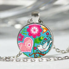 Modern Bird Tibet silver Dome Glass Cabochon Necklace chain Pendant #322