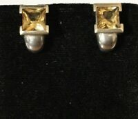 Sterling Silver & 14k Yellow Gold Hoop Style Faceted Citrine Earrings