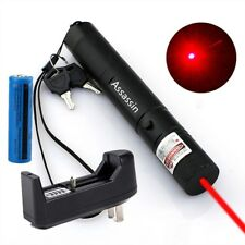High Power Red Laser Pointer Pen 4mW 650nm Single Point 18650 Battery Charger US