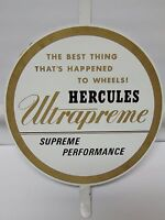 Vintage 1960s HERCULES ULTRAPREME TIRES CAR AUTO METAL Advertising Sign GAS OIL