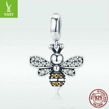 925 Sterling Silver Charm Bead Bee Pendant With CZ For Bracelet Necklace Jewelry