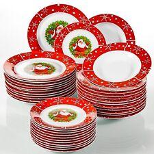 36Pcs Christmas Santa Claus Dinner Set Red Porcelain Tableware Plates Bowls Gift