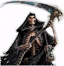 Grim Reaper Box Bumper Sticker Vinyl Decal