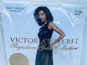 Victoria's Secret Signature Gold Opaque Control Top CREAM Pantyhose / Size Large