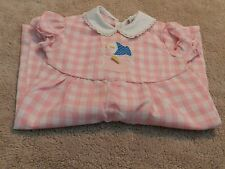 """Vintage 1970's Infant Girl's """"THOMAS"""" One Piece Pink Gingham Outfit Size 6 MO"""