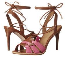 Coach A01230 Kiara Dahlia Saddle Leather Lace Up Sandal Heels Sz 9 NIB