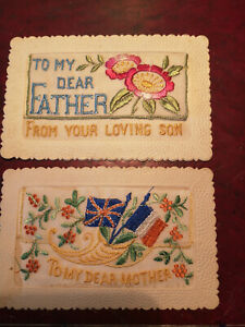 Pair of Silk Postcards, Dear Mother, Dear Father, Excellent Condition