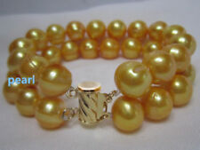 2 ROW natural AAA 12-11MM SOUTH SEA golden PEARL BRACELET 14K GOLD 7.5-8""