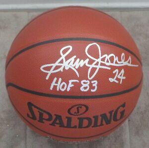 "SAM JONES Signed Spalding I/O Off. Size NBA Basketball w/""HOF 83""-BOSTON CELTICS"