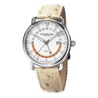 Stuhrling 791.01 Cuvette 791 01 Symphony Swiss Quartz GMT Leather Mens Watch
