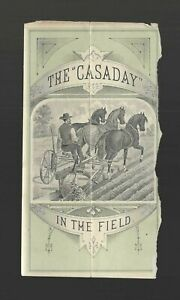 """CASADAY Sulky Plow Oliver South Bend IN vtg old 1880s Farming Agricuture ad 6x3"""""""