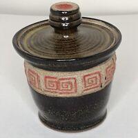 Vintage Aztec Southwestern Lidded Art Pottery Jar Brown Red Speckle Boho Signed