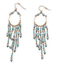 NEW BOHO STYLE IN FASHION GOLD WIRE & TURQUOISE BEADS LONG EARRINGS PARTY(ZX49)