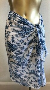 Seafolly new Pareo Sarong from the Lovebird range in blue & white size medium