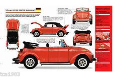 VW SUPER BEETLE CABRIOLET SPEC SHEET / Brochure: 1970,1971,1972, volkswagen