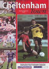 Football Programme>CHELTENHAM TOWN v RUSHDEN & DIAMONDS Mar 2002
