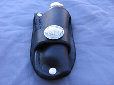 Custom Leather Trapper Knife Sheath Fits---Case---Moore Maker---Puma (Black C)