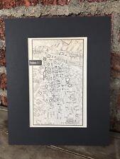 City Map of Providence Rhode Island 1958 Mid Century Black Matted 8x10 Art Print