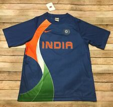 Vtg Nike India Cricket JERSEY Fit Dry RARE DARK Shirt Blue Orange Green Medium