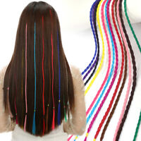 "3X 20"" Colorful Twist Braid Dreads Synthetic Clip In Micro Braids Hair Extension"