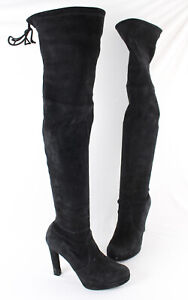 Stuart Weitzman Women's Black Suede Over The Knee Platform Heeled Boot 7.5