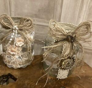 2 X Rustic Hessian/burlap/jute Jar wraps decorations
