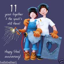 Santo Caballa feliz 11TH/tarjeta de felicitación de aniversario de Acero ** Gratis 1ST Clase P&p