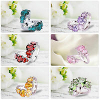 Size6 7 8 9 10 11 12 13 Charm Amethyst Pink Topaz Gemstone Silver Ring Jewelry