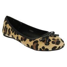 Ladies Spot on Ballerina Style PUMPS F8829 5 UK Tan Leopard Standard