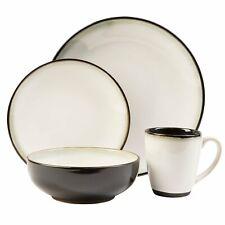 16-Piece Dinnerware Set Black White Dinner Plates Mugs Bowls 4 Person Serving