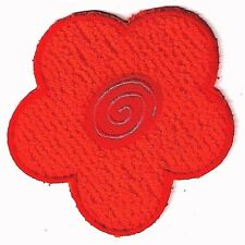 """4"""" Red Flower Chenille Embroidery Patch Spring"""