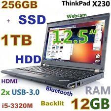 """Thinkpad X230 12.5"""" i5-2.6GHz (256GB SSD + 1TB 12GB) Webcam BACKLIT BLUETOOTH"""