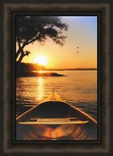 SUNSET ON THE LAKE I by Lori Deiter 16x22 FRAMED PICTURE Canoe Wood Boat HCD