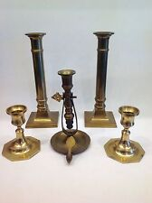 Vintage Lot Of Brass Candlestick Holders ~ Set of 5 Christmas Hollywood Regency