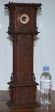 RARE 56CM TALL 19TH CENTURY CONTINENTAL WALNUT FRET CARVED BAROMETER ORIENTAL