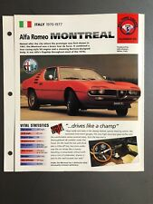 "1970-1977 Alfa Romeo Montreal Coupe IMP ""Hot Cars"" Spec Sheet Folder Brochure"