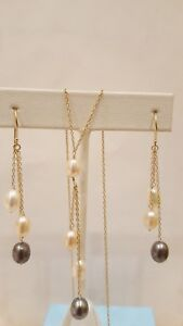 14k Yellow Gold Earring & Neckles Set 3 colors Pearls. 5×7 mm Pearls