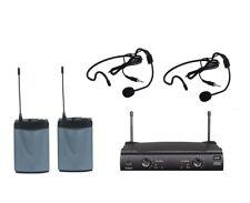 UHF Dual Wireless Cordless Headset Headworn Microphone System w 2 Headset Mics