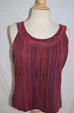 Fab! NWT $335 ST JOHN SPORT 100% wool PURPLE STRIPE SWEATER TANK SHELL TOP SZ M