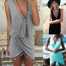 Women Lady Summer Tassel V Neck Mini Dresses Casual Beach Sundress Sleeveless