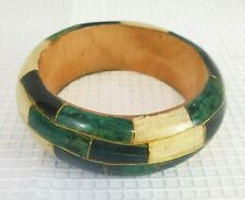 Wooden Bracelet Handmade Green w/ White & Gold Inlay Bangle Wood Jewelry Gift