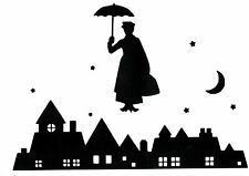 CUT VINYL WALL ART STICKER MARY POPPINS NIGHT SILHOUETTE ROOFTOP FRAMES CRAFTS
