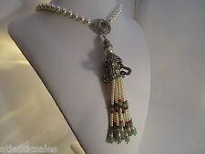 Vintage Heidi Daus Just Fabulous  simulated Pearl Jade Tassel Drop Necklace NEW
