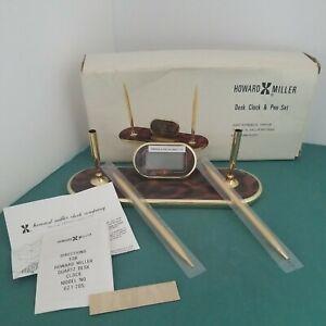 Vintage Howard Miller Desk Set with Clock & 2 Pen Set New In Box Never Used MCM