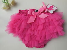 MUD PIE Baby Girl Hot Pink Ruffle Nappy Cover Size 000 Fits 0-6 mths NEW Gift