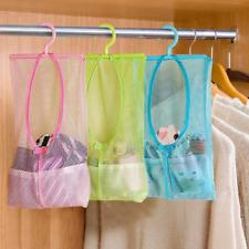 Laundry Bathroom Hanging Mesh Storage Bag Clothes Toy Toys Organizer Hanger Hook