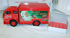 DANBURY MINT DIE CAST METAL - 1950'S COCA COLA CHRISTMAS TRUCK WITH DISPLAY CASE
